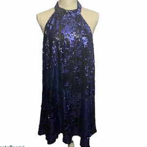 Tobi Blue Reverse Sequin Halter Swing Dress Large